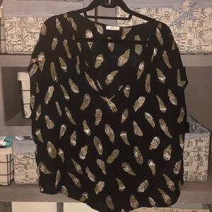 Josie/ Anthro feather patterned blouse